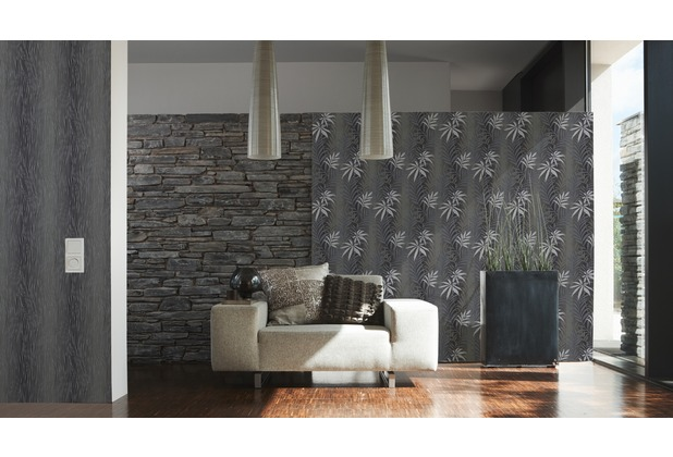 AS Création Mustertapete Kingston Strukturprofiltapete grau metallic schwarz 324731 10,05 m x 0,53 m