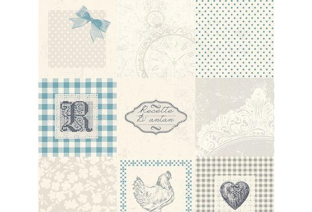 AS Création Mustertapete Kitchen Dreams Tapete blau creme grau 327324 10,05 m x 0,53 m