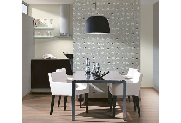 as cr ation mustertapete kitchen dreams vliestapete blau grau schwarz. Black Bedroom Furniture Sets. Home Design Ideas