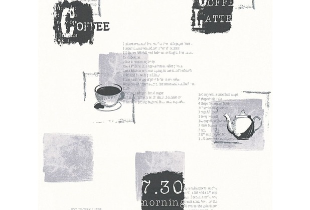 AS Création Mustertapete Kitchen Dreams Vliestapete grau schwarz weiß 327334 10,05 m x 0,53 m