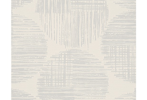 AS Création Mustertapete mit Glitter Spot 3 Vliestapete metallic weiß 305491 10,05 m x 0,53 m