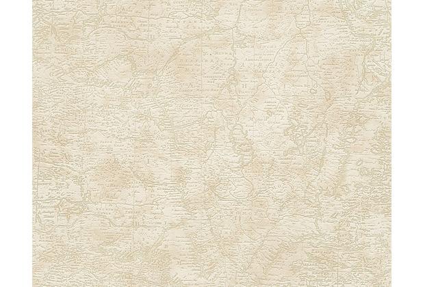 AS Création Mustertapete mit Weltkarte Dekora Natur, Tapete, hellelfenbein, beige 958962 10,05 m x 0,53 m