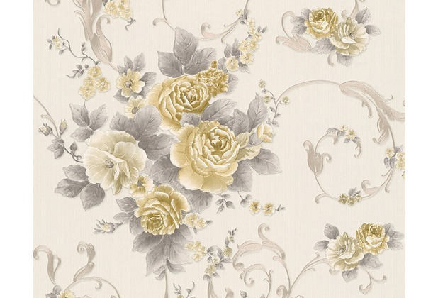 AS Création Mustertapete Romantica 3 Tapete grau metallic weiß 306474 10,05 m x 0,53 m