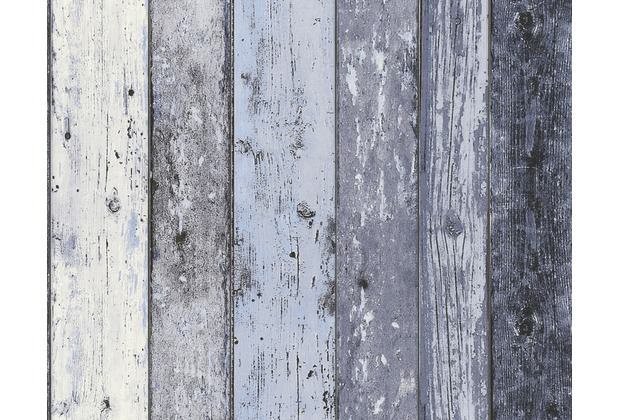 AS Création Mustertapete Surfing & Sailing, Tapete, Holzoptik, blau 10,05 m x 0,53 m