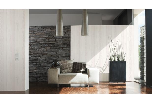 Tapete Holzoptik Wei - Design