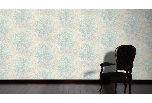 AS Création Mustertapete Vacation Vliestapete beige blau metallic 343903 10,05 m x 1,06 m