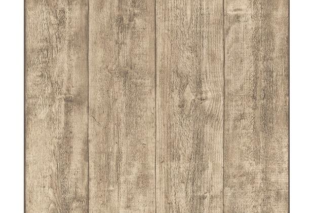 AS Création Mustertapete Wood`n Stone, Tapete, Holzoptik, Beige, Braun, Gelb