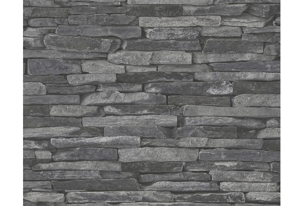 as cration mustertapete woodn stone tapete natursteinoptik grau - Tapete Schwarz Weis Muster