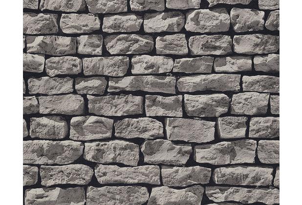AS Création Mustertapete Wood`n Stone, Tapete, Natursteinoptik, grau, schwarz 907929 10,05 m x 0,53 m