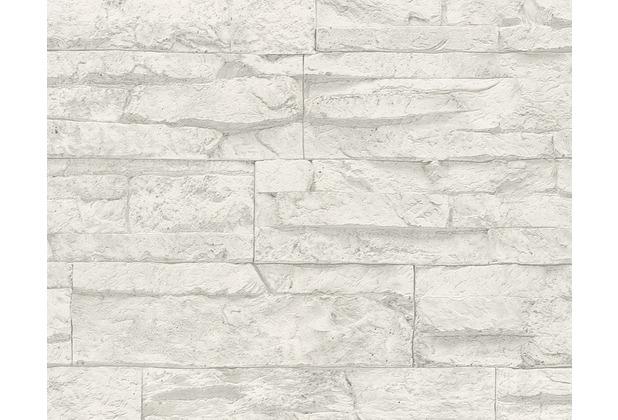 AS Création Mustertapete Wood`n Stone, Tapete, Natursteinoptik, grau, weiss 10,05 m x 0,53 m
