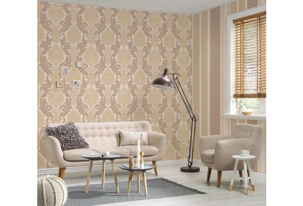 AS Création neo barocke Mustertapete Kingston Strukturprofiltapete beige braun metallic 10,05 m x 0,53 m