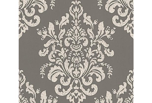 AS Création neobarocke Mustertapete Hermitage 10 grau metallic weiß 341432 10,05 m x 0,53 m