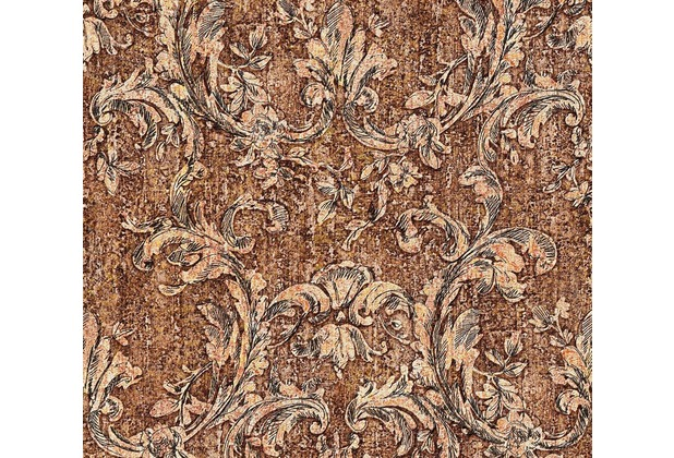 as cr ation neobarocke mustertapete in vintage optik havanna tapete braun metallic orange. Black Bedroom Furniture Sets. Home Design Ideas