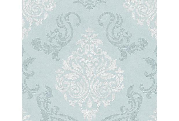 AS Création neobarocke Mustertapete Memory 3 Vliestapete blau metallic weiß 953725 10,05 m x 0,53 m