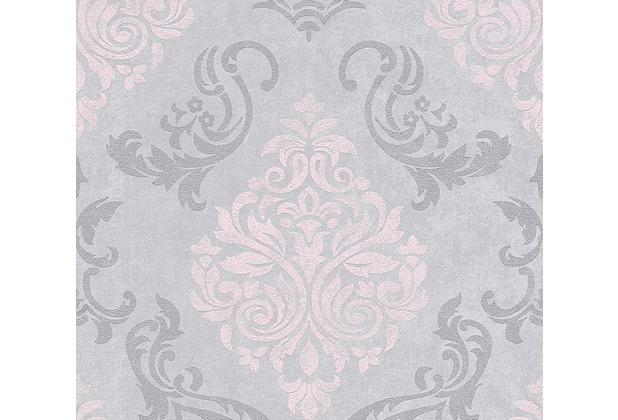 AS Création neobarocke Mustertapete Memory 3 Vliestapete grau metallic rosa 953726 10,05 m x 0,53 m