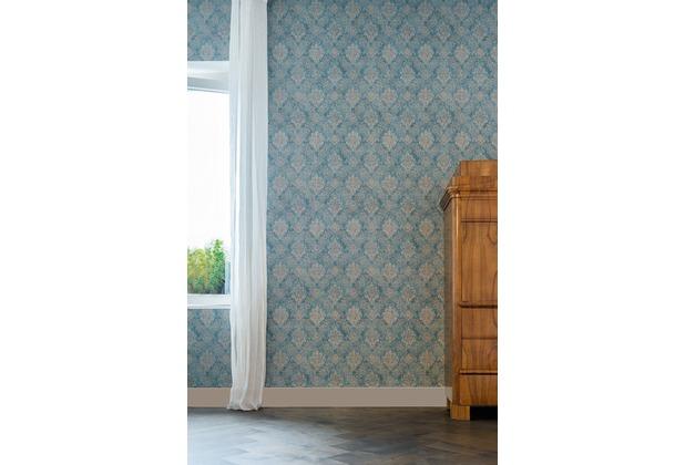 AS Création neobarocke Mustertapete Secret Garden Tapete blau braun metallic 10,05 m x 0,53 m