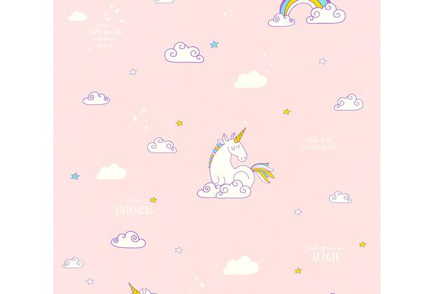 AS Création Papiertapete Boys & Girls 6 Tapete mit Einhörnern Unicorn blau gelb rosa 361582 10,05 m x 0,53 m