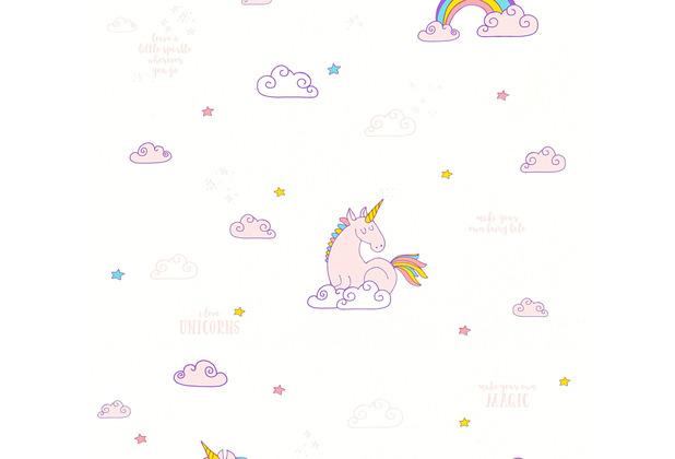 AS Création Papiertapete Boys & Girls 6 Tapete mit Einhörnern Unicorn bunt lila weiß 361581 10,05 m x 0,53 m