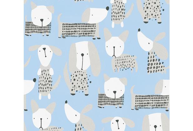 AS Création Papiertapete Boys & Girls 6 Tapete mit niedlichen Hunden blau weiß 10,05 m x 0,53 m
