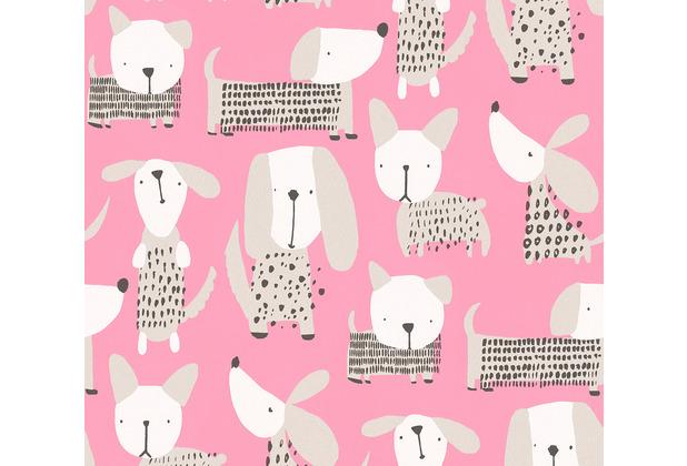 AS Création Papiertapete Boys & Girls 6 Tapete mit niedlichen Hunden rosa weiß 367552 10,05 m x 0,53 m