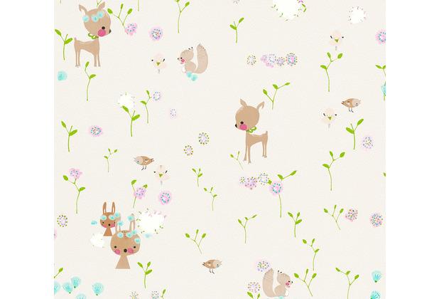 AS Création Papiertapete Boys & Girls 6 Tapete mit niedlichen Wald Tieren beige braun 369881 10,05 m x 0,53 m