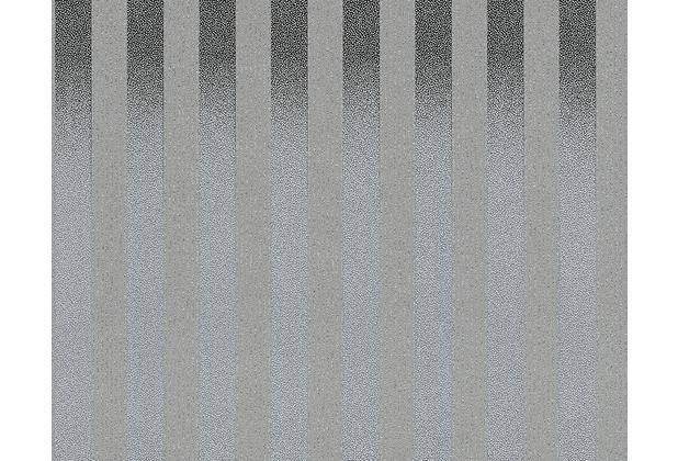 AS Création Streifentapete Black & White 3, Strukturprofiltapete, silber grau 273260 10,05 m x 0,53 m