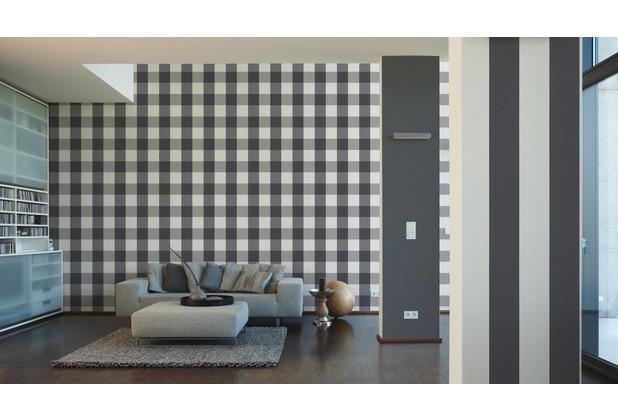 AS Création Streifentapete Black & White 3, Vliestapete, grau, weiß 10,05 m x 0,53 m