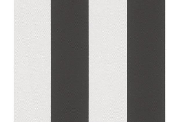 AS Création Streifentapete Elegance 3, Vliestapete, schwarz, weiß 334213 10,05 m x 0,53 m