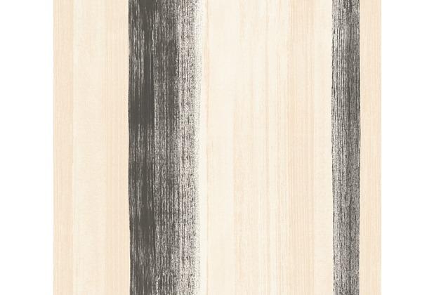 AS Création Streifentapete Free Nature Vliestapete beige creme schwarz 344504 10,05 m x 0,53 m