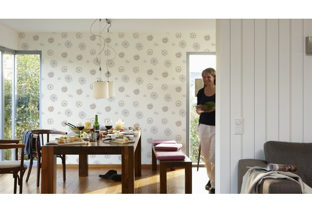 AS Création Streifentapete Happy Spring Vliestapete beige weiß 10,05 m x 0,53 m