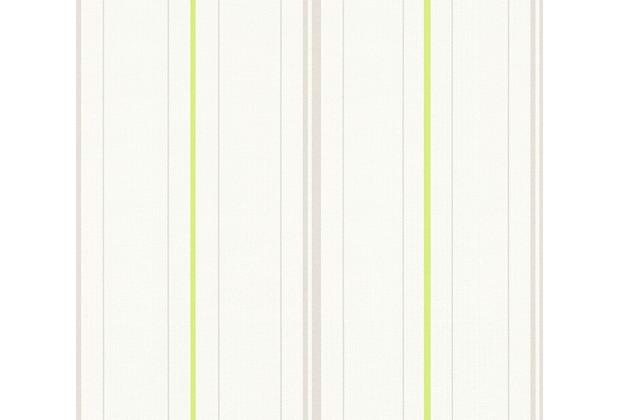 AS Création Streifentapete Happy Spring Vliestapete grau grün weiß 347641 10,05 m x 0,53 m