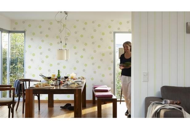 AS Création Streifentapete Happy Spring Vliestapete grau grün weiß 10,05 m x 0,53 m