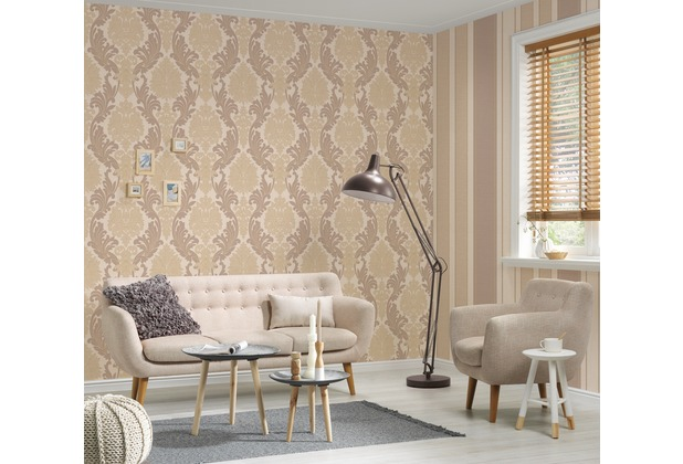 AS Création Streifentapete Kingston Strukturprofiltapete beige braun metallic 10,05 m x 0,53 m
