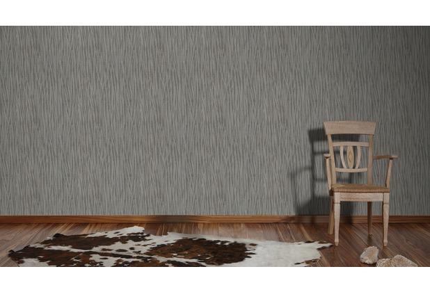 AS Création Streifentapete Kingston Strukturprofiltapete braun grau metallic 10,05 m x 0,53 m