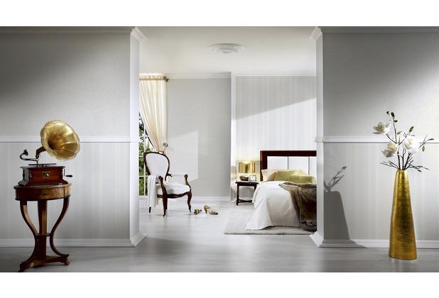 AS Création Streifentapete Kingston Strukturprofiltapete metallic weiß 327541 10,05 m x 0,53 m