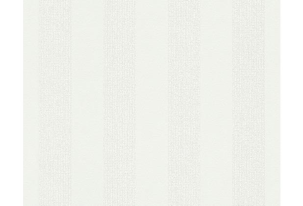 AS Création Streifentapete Smooth, Vliestapete, weiß 302372 10,05 m x 0,53 m