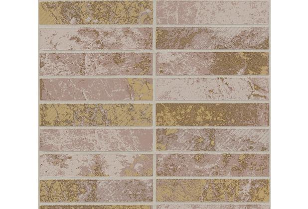 AS Création Strukturprofiltapete Il Decoro Tapete in Klinker Optik beige braun metallic 348182 10,05 m x 0,53 m
