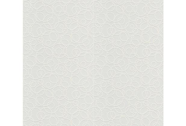 AS Création Vliestapete Meistervlies Tapete mit Kreisen überstreichbar weiß 561114