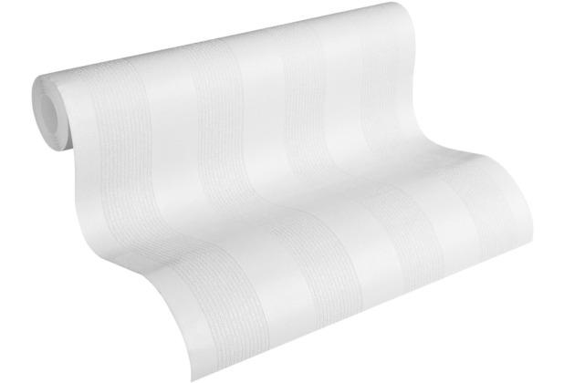 AS Création Vliestapete Meistervlies Blockstreifentapete überstreichbar weiß 320081 10,05 m x 0,53 m