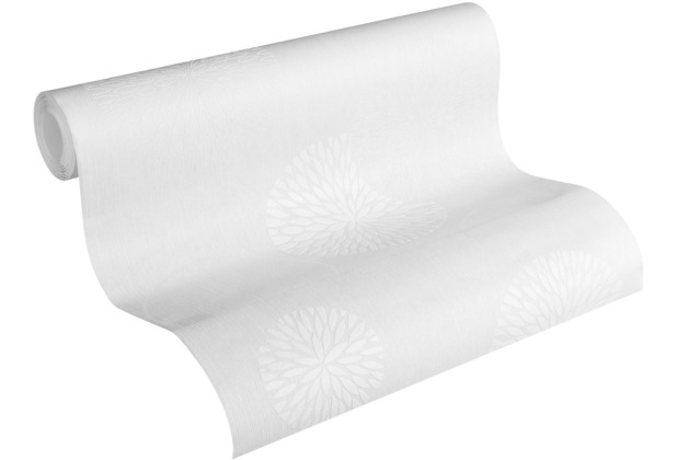 AS Création Vliestapete Meistervlies Blumentapete überstreichbar weiß 321301 10,05 m x 0,53 m