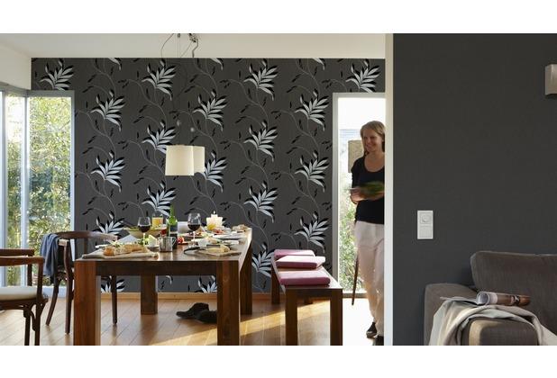 AS Création Unitapete Kingston Strukturprofiltapete metallic schwarz 325233 10,05 m x 0,53 m