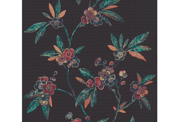 AS Création Vliestapete Asian Fusion Blumentapete asiatisch metallic schwarz grün 374721 10,05 m x 0,53 m