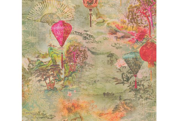 AS Création Vliestapete Asian Fusion Tapete asiatisch grün gelb rot 374661 10,05 m x 0,53 m
