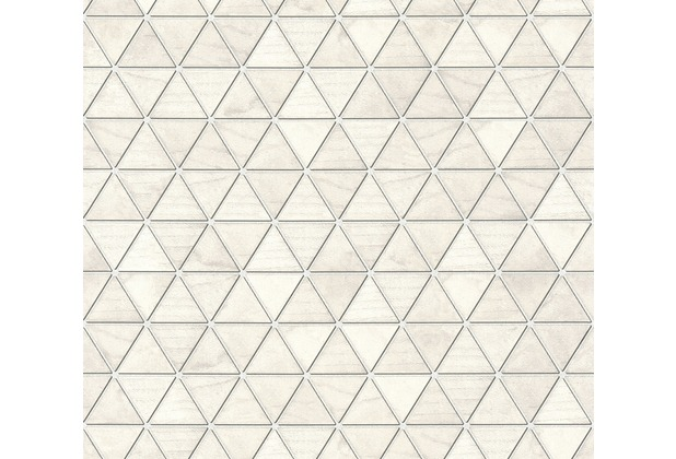 AS Création Vliestapete Authentic Walls 2 Tapete geometrisch grafisch metallic weiß grau 366222 10,05 m x 0,53 m