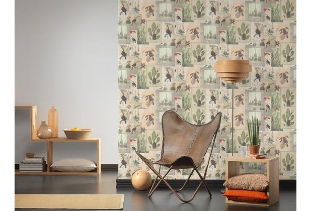 AS Création Vliestapete Authentic Walls 2 Tapete im Ethno Look beige grün grau 364791 10,05 m x 0,53 m