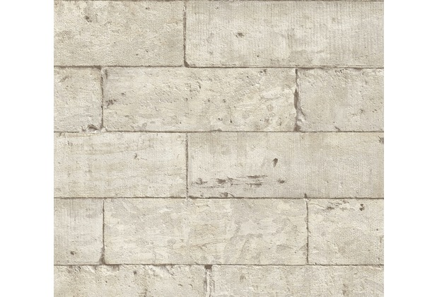 AS Création Vliestapete Authentic Walls 2 Tapete in Stein Optik beige grau schwarz 366201 10,05 m x 0,53 m
