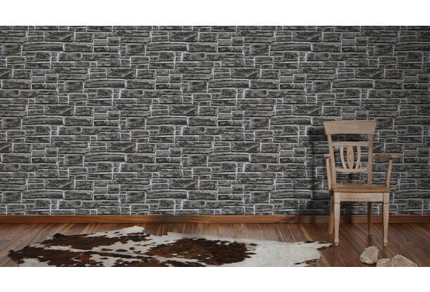 AS Création Vliestapete Best of Wood\'n Stone 2nd Edition Tapete in Stein Optik grau schwarz 10,05 m x 0,53 m