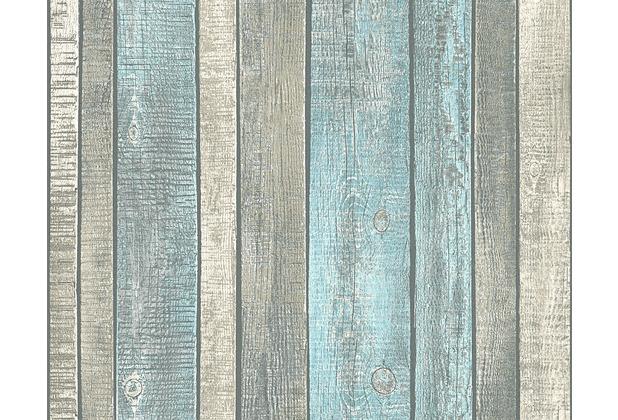 AS Création Vliestapete Best of Wood\'n Stone 2nd Edition Tapete in Vintage Holz Optik blau creme grau 10,05 m x 0,53 m