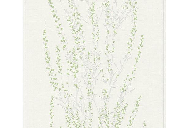 AS Création Vliestapete Blooming Tapete floral weiß grün metallic 372672 10,05 m x 0,53 m