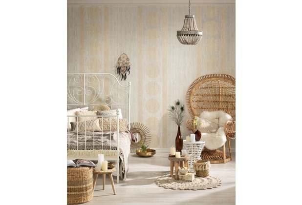 AS Création Vliestapete Boho Love Tapete im Ethno Look metallic creme beige 10,05 m x 0,53 m